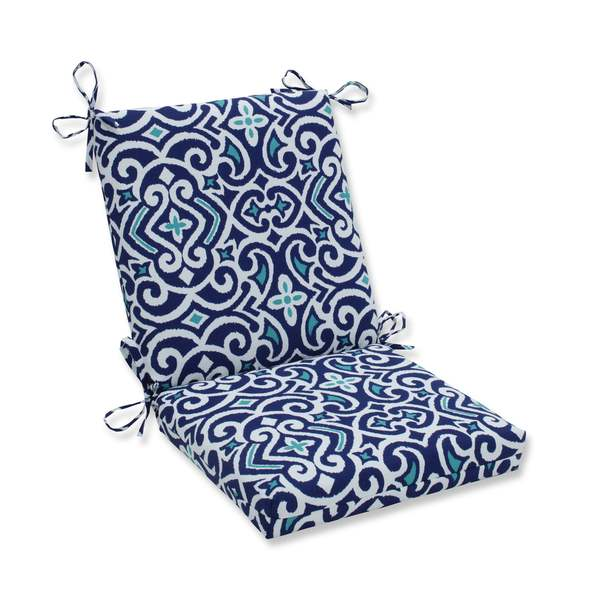 Pillow Perfect Outdoor/ Indoor New Damask Marine Squared Corners Chair Cushion