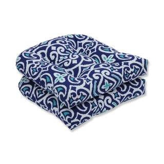Pillow Perfect Outdoor/ Indoor New Damask Marine Wicker Seat Cushion (Set of 2)
