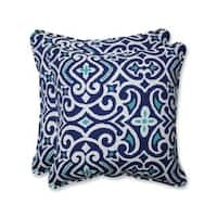 Pillow Perfect Outdoor/ Indoor New Damask  Marine 18.5-inch Throw Pillow (Set of 2)