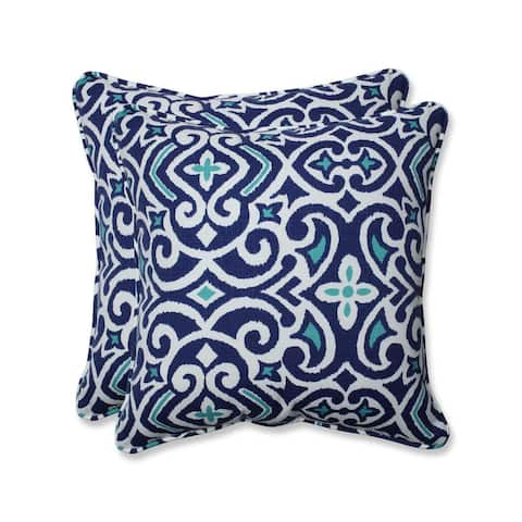 """Pillow Perfect Outdoor/ Indoor New Damask Marine 18.5-inch Throw Pillow (Set of 2) - 18.5"""" x 18.5"""" x 5"""""""
