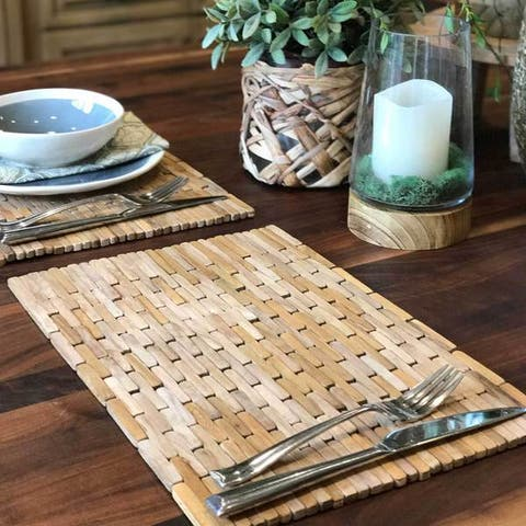 Handmade Teak Placemats, Set of 2 (Indonesia)