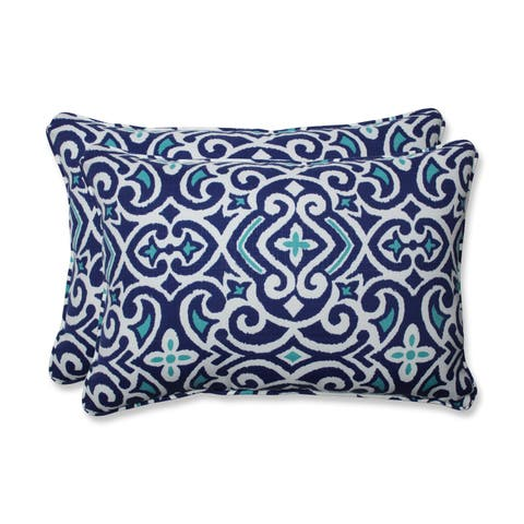Pillow Perfect Outdoor/ Indoor New Damask Marine Rectangular Throw Pillow (Set of 2)