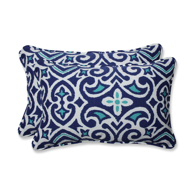Pillow Perfect Outdoor//Indoor Woodblock Prism Rectangular Throw Pillow Blue Set of 2