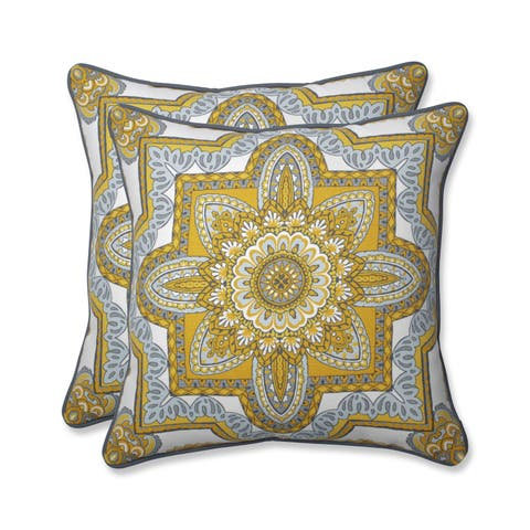 Pillow Perfect Outdoor/ Indoor Malacca Yellow/Gray 18.5-inch Throw Pillow (Set of 2)