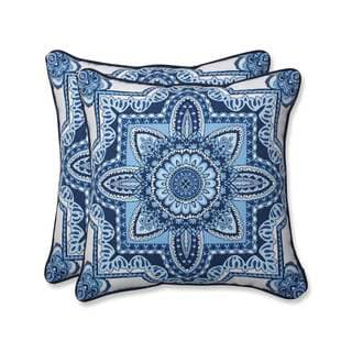 Pillow Perfect Outdoor/ Indoor Malacca Blue/White 18.5-inch Throw Pillow (Set of 2)