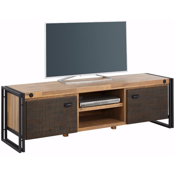 shop indira acacia wood and metal 2 door lowboard tv stand free shipping today. Black Bedroom Furniture Sets. Home Design Ideas