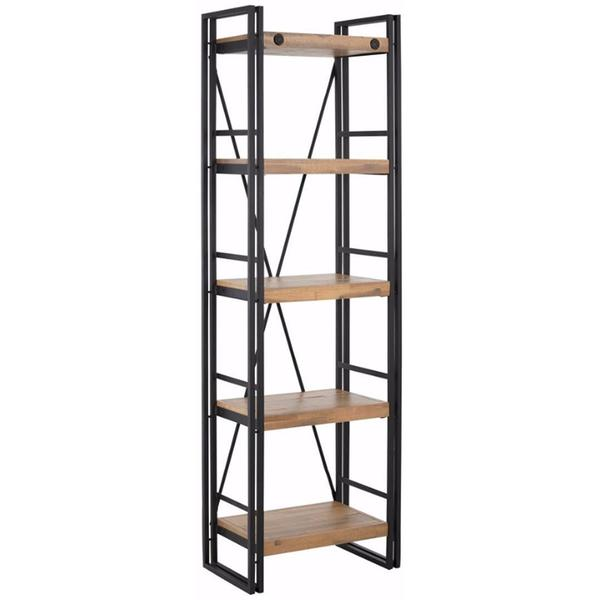 Indira Acacia Wood And Metal Narrow Bookcase by Scandinavian Lifestyle