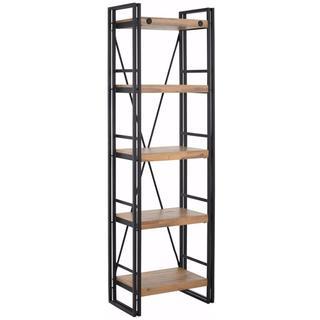 Indira Acacia Wood and Metal Narrow Bookcase