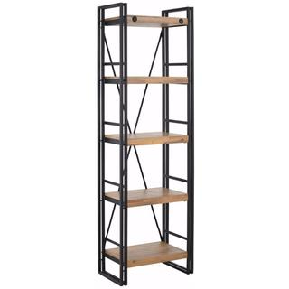 Indira Acacia Wood and Metal Narrow Bookcase