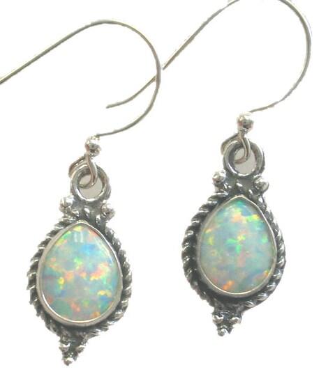 Tear Drop Opal & Sterling Silver Earrings (India)