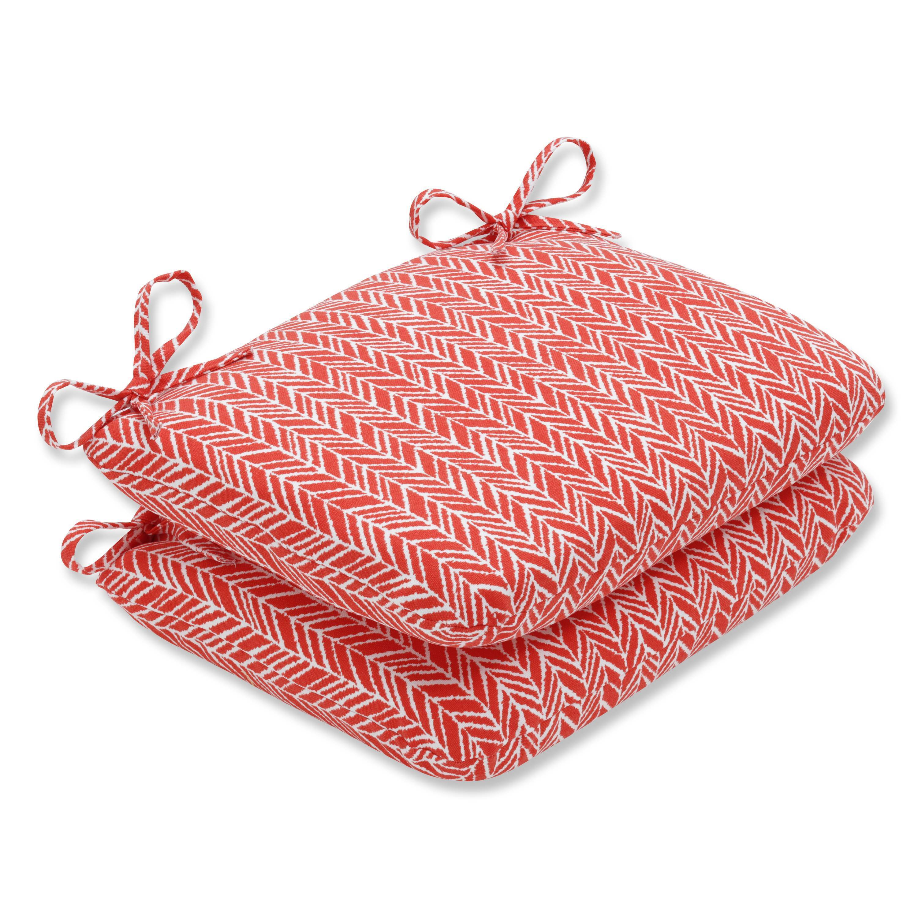 Pillow Perfect Outdoor/ Indoor Herringbone Tomato Rounded Corners Seat Cushion (Set of 2) (Rounded Corners Seat Cushion (Set of 2))