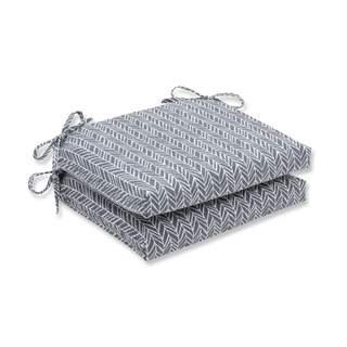 Pillow Perfect Outdoor/ Indoor Herringbone Slate Squared Corners Seat Cushion (Set of 2)