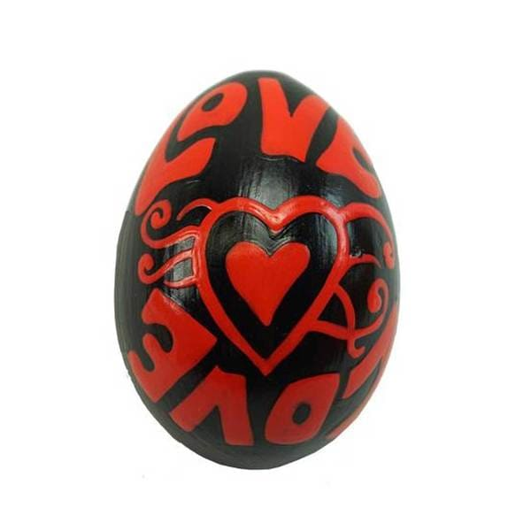 Handmade Mahogany Wood Egg Shaker - Love Deisgn - Jamtown (Indonesia)