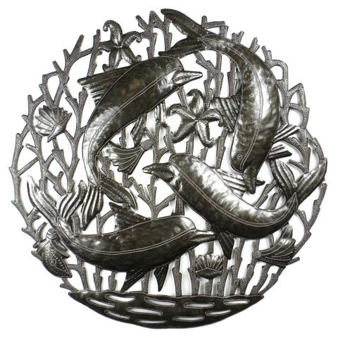 "Handmade 24"" Dolphin Pod Metal Art (Haiti)"