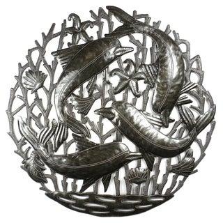 Handmade 24-Inch Dolphin Pod Metal Wall Art (Haiti)