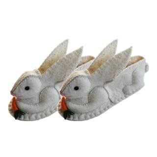 Handcrafted Felt Rabbit Zooties Adult Slippers (Kyrgyzstan)