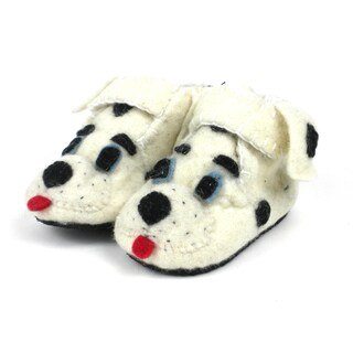 Handcrafted Felt Dalmatian Zooties Toddler Booties (Kyrgyzstan)