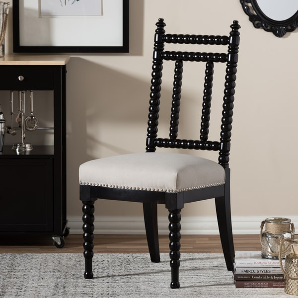 Black And Beige Jenny Lind Style Vintage Dining Chair