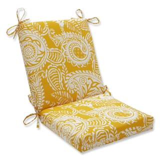 Pillow Perfect Outdoor/ Indoor Addie Egg Yolk Squared Corners Chair Cushion