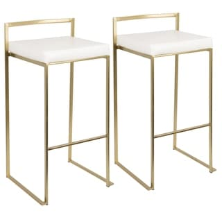 Fuji Contemporary-Glam Gold Bar Stool by LumiSource (Set of 2) - Thumbnail 0