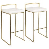 Fuji Contemporary-Glam Gold Bar Stool by LumiSource (Set of 2)