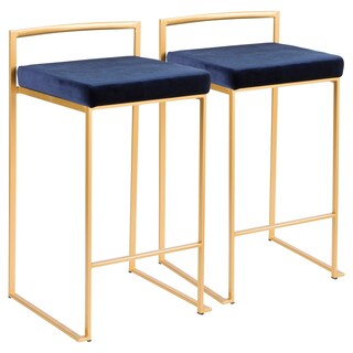 Oliver & James Krupa Gold Stackable Counter Stool (Set of 2) (Option: Velvet - Blue)