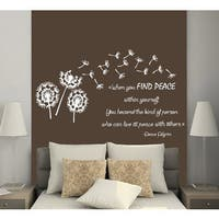 Quotes When You Find Peace Within Yourself Flower Vinyl Stickers Interior Design Mural Sticker Decal size 22x30 Color Black