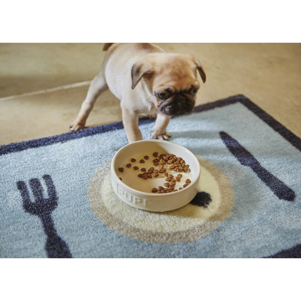 """Howler and Scratch Dinner Time Heavy-duty Washable Pet Food Mat - 1'4"""" x 2'. Opens flyout."""