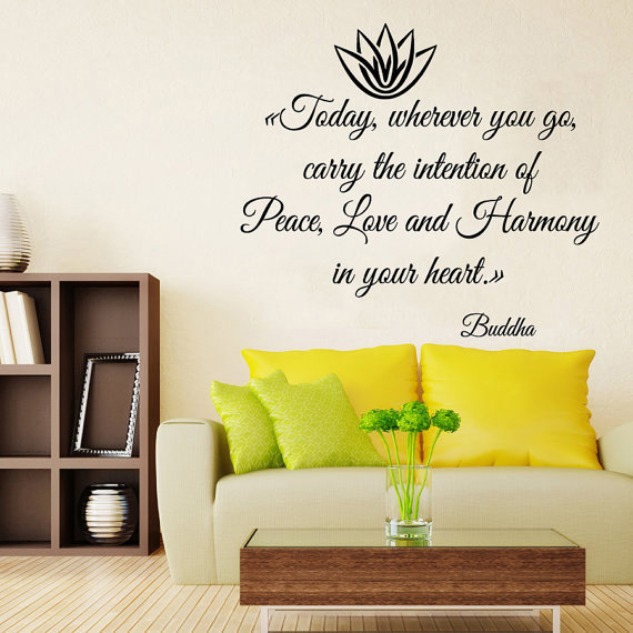 Shop Buddha Quotes Peace Love Harmony In Your Heart Flower Vinyl