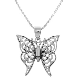 White Sterling Silver Butterfly Pendant Box Chain Necklace