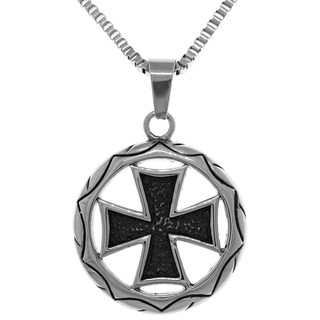 Jewelry Trends Stainless Steel 22-inch Box Chain Templar Celtic Cross Medallion Pendant Necklace