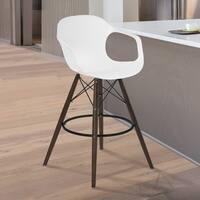 Armen Living Xavier White Molded Plastic Seat and Walnut Wood Arm Barstool