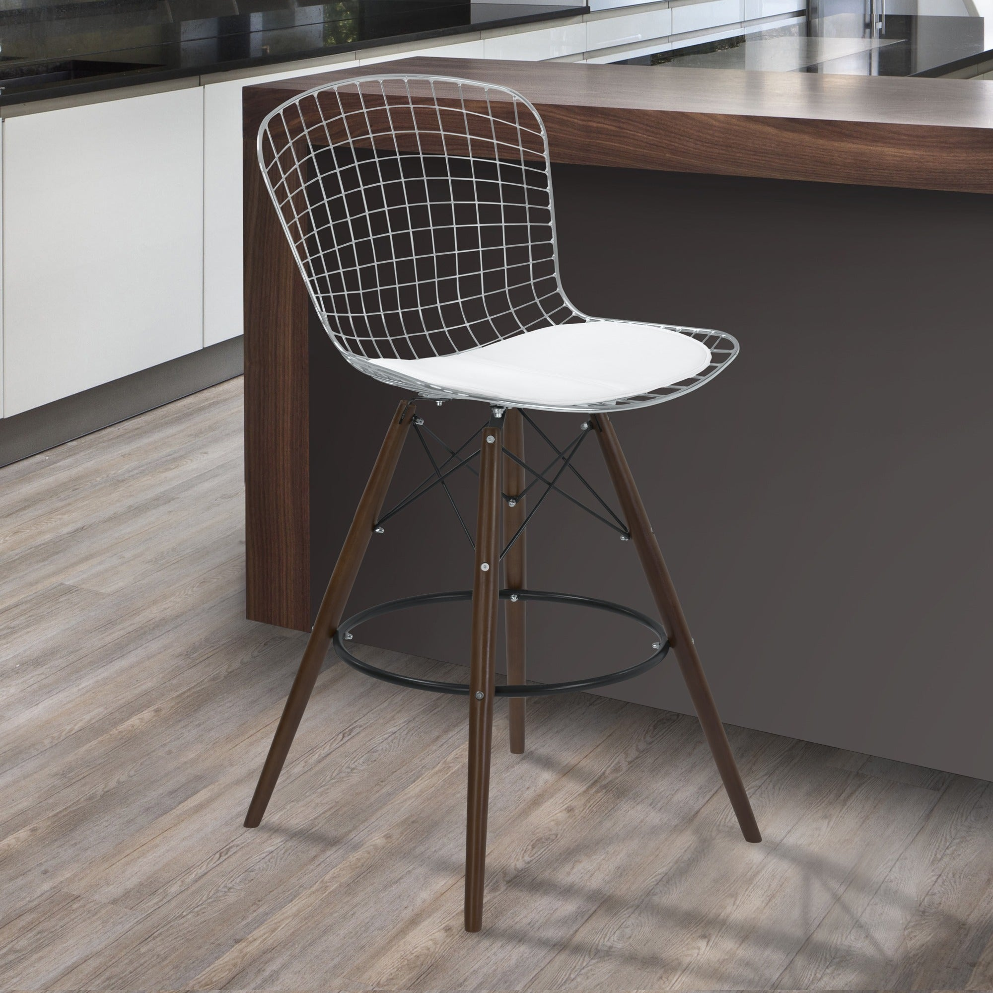 Armen Art Taylor Wire Barstool with Walnut Wood legs and ...