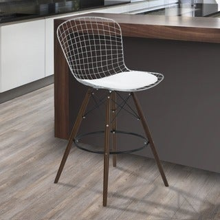 Armen Living Taylor Wire Barstool with Walnut Wood legs and Chrome and White Faux Leather Seat Cushion