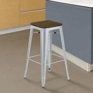 Armen Living Emery Walnut Wood Seat/Brushed Galvanized Steel Finish Backless Industrial Barstool