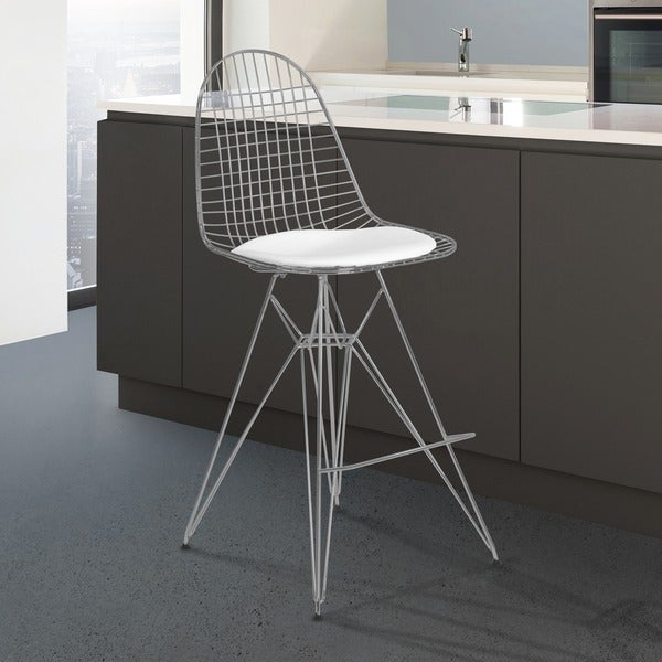 Armen Living Aquila Chrome Wire Barstool With White Faux Leather Seat Cushion