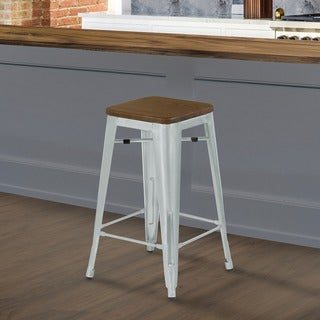Armen Living Angelo Brushed Galvanized Steel Finish with Walnut Wood Seat Backless Industrial Barstool