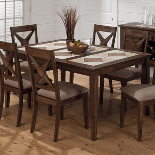 LYKE Home Handrubbed Brown Finish Tile Top 5-Piece Dining Set