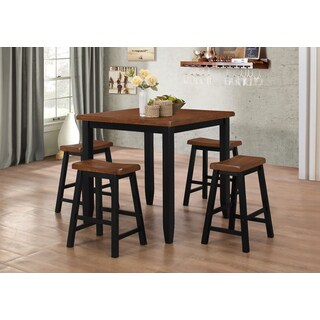 LYKE Home Maple and Black Pub Height 5-Piece Dining Set
