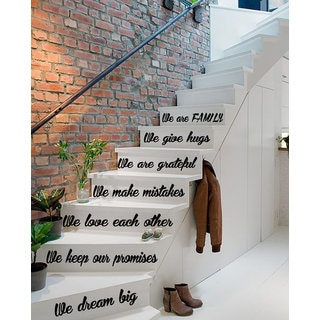 Quote We Are Family Love Decal Staircase Stickers Stair Vinyl Sticker Interior Art Murals Sticker Decal size 22x35 Color Black