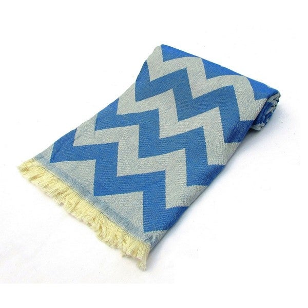 Chevron Demin Blue Jacquard Turkish Cotton Peshtemal Bath and Beach Towel