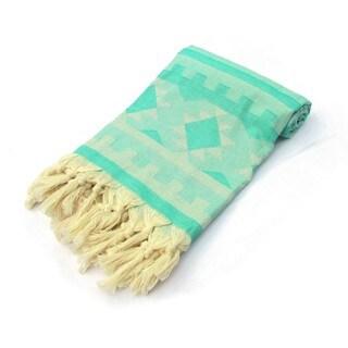 Kilim 100-percent Jacquard Turkish Cotton Pestemal Bath & Beach Towel Sea Green