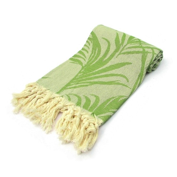 Jungle Jacquard Turkish Cotton Green Pestemal Bath and Beach Towel