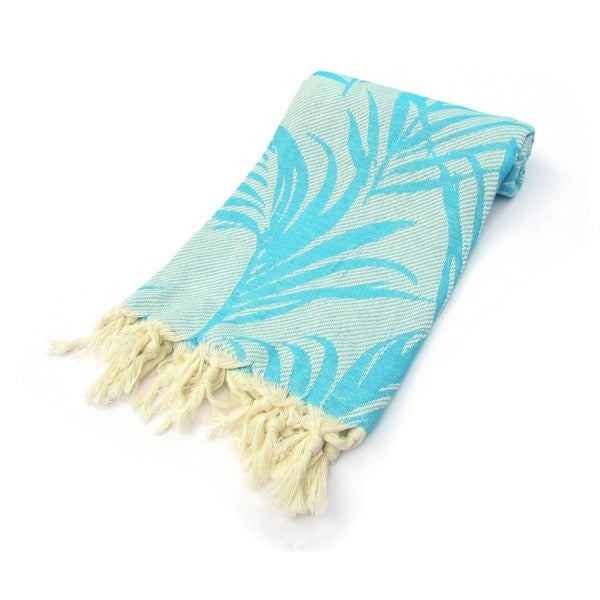 Light Blue Jungle Pattern Jacquard Turkish Cotton Peshtemal Bath and Beach Towel