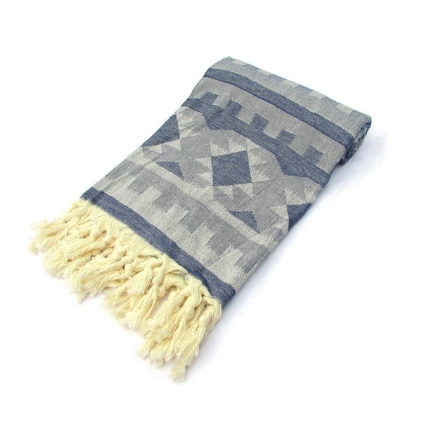 Indigo Blue Turkish Cotton Peshtemal Bath and Beach Towel