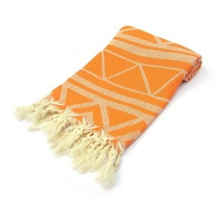 Marrakech Jacquard Turkish Cotton Orange Pestemal Bath and Beach Towel