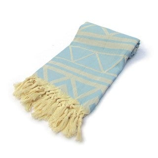 Marrakech Jacquard Turkish Cotton Light Blue Pestemal Bath Beach Towel