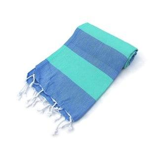 Lollipop Blue/ Green Stripe Turkish Cotton Peshtemal Bath and Beach Towel