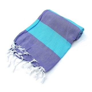 Lollipop Turkish Cotton Pestemal Bath and Beach Towel Purple/Blue