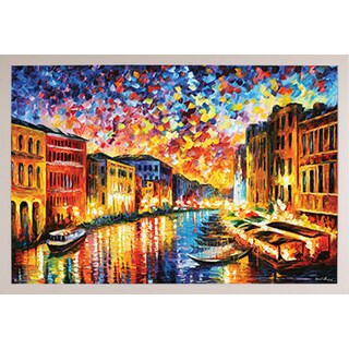 'Venice Grand Canal' Simply White Poly Framed Poster (24 Inch x 36 Inch)